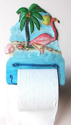 Flamingo - Hand Painted Metal Toilet Paper Holder - Tropical Bathroom Decor Tropical flamingo - Toilet tissue holder - - Decorative Metal Bathroom Décor, Tropical home decor, Hand Painted Metal Bathroom Toilet Paper Holder This charming piece will be a delightful addition to your bathroom decor, whether used for a toilet paper holder or guest towel holder. It has been hand cut from a recycled 55 gallon steel oil drum at our workshop in Haiti and then carefully hand painted.