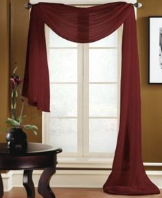 "Miller Curtains Sheer Preston Rod Pocket 48"" x 216"" Scarf Valance - Red"