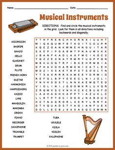 Music Teacher FREEBIE Your students will enjoy looking for all of the musical instruments hidden in this fun puzzle worksheet. The words are hidden in all directions and there may be some overlaps making this a challenging word search. Music Lessons For Kids, Music Lesson Plans, Music Word Search, Middle School Music, Teacher Freebies, Music Words, Music Worksheets, The Words, Piano Teaching