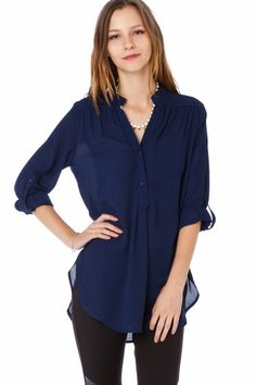 Pure Colora Blouse in Navy