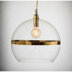 Ebb & Flow Rowan Taklampa Ø 22 cm - Klarglas med guldra | TheHome.se