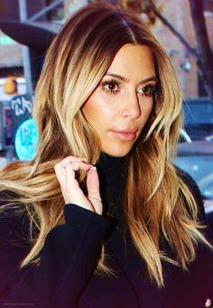 Kim Kardashian #hair #haircolor #blond