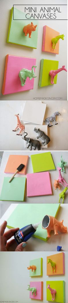 For some easy DIY art, make these mini animal canvases out of plastic toys, super glue and paint! They are so funky and unique for a nursery or childs bedroom!