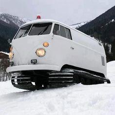 Snow tracks from VW van: