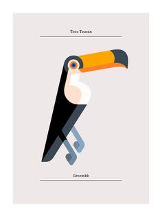 Toco Toucan - Josh Brill #bird #toucan #illustration Toco Toucan, Animal Graphic, Bird Artwork, Paper Animals, Institute Of Contemporary Art, Kids Prints, Animal Design, Graphic Design Illustration, Framed Wall Art