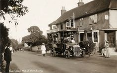 The bus for Tunbridge Wells waits outside the Camden Hotel, Pembury It seems from the roof board that it ran through to Rusthall as well -looks pretty full up! Roof Boards, Tunbridge Wells, Camden, How To Look Pretty, Genealogy, The Outsiders, Street View, Photos, Painting