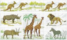African animals and kangaroos | Free chart for cross-stitch | Chart for pattern - Gráfico