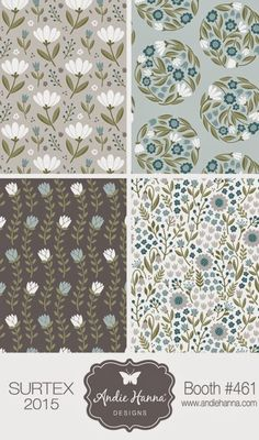 Another artist to look for at next months show will be Andie Hanna in Surtex Booth This will be her first year showing at Surtex and… Textile Pattern Design, Flower Pattern Design, Motif Design, Surface Pattern Design, Textile Patterns, Pattern Art, Flower Patterns, Fabric Design, Textiles