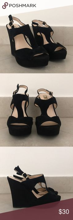 INC black wedge sandals INC black wedge sandals Size 7 used but in great condition  Adjustable straps  Suede material INC International Concepts Shoes Heels