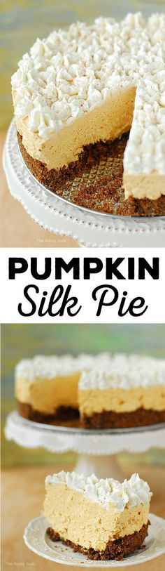 Pumpkin Silk Pie Dessert Recipe via The Gunny Sack - this is cool and creamy with a light pumpkin flavor and the spice of ginger snaps. It's a fun alternative to the traditional pumpkin pie. - Favorite EASY Pies Recipes - Brunch Dessert No-Bake + Bake Musts