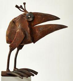 scrap metal sculpture by Chris Kircher I Skulpturen aus Schrott von Chris Kircher I  bird, recycling, garden, steel, art