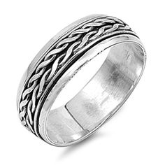 Sterling Silver Wedding Band Oxidized Finish Art Deco Design Spinner Ring Size 7 to 13