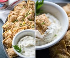 Nothing fried here! The baked ravioli appetizer is simply breaded with smoked almonds and then served along with a flavorful ranch white bbq sauce! lemonsforlulu.com