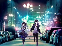Anime City - girl, boy, lights, city, anime