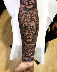 Visit the post for more. Lion Tattoo Sleeves, Wolf Tattoo Sleeve, Best Sleeve Tattoos, Tattoo Sleeve Designs, Lion Cub Tattoo, Cubs Tattoo, Mens Lion Tattoo, Lioness And Cub Tattoo, Lion Forearm Tattoos