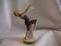 Hertwig Antique Bathing Beauty Half Doll Pre Colored w Sand Suit