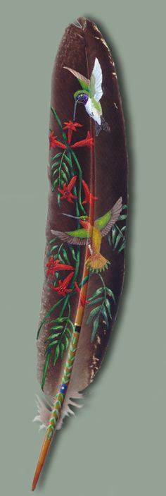 Hummingbirds painted on a feather. Featherlady Studio: Wildlife Art by Northwest artist Julie Thompson