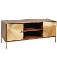 Arielle TV stand in dark wood with 2 gold metal doors and open compartments, will make a lovely addition to any modern home decor - 37929 wooden TV stands, TV units, cabinets & wall entertainment units, modern & contemporary. Tv Stand Furniture, Door Furniture, Modern Furniture, Furniture Ideas, Furniture Design, Tv Stand Gold, Small Tv Stand, Front Room Decor, Wooden Tv Stands