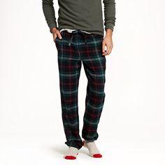 J.Crew - Slim flannel pajama pant in warm spruce plaid