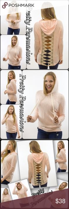 "Contrast Brushed Hacci Crochet Lace Slub Hoodie NWT Contrast Brushed Hacci Crochet Lace Slub Hoodie  Available in S, M, L Measurements taken from a size small  Length: 28"" Bust: 46"" Waist: 44""  Features • ribbed, contrast long sleeves • open back w/crochet lace detail • super soft brushed hacci slub fabric • drawstring hood • loose fit • light, breathable light pink/peach & cream material w/stretch  Rayon blend  Bundle discounts available  No pp or trades  Item # 1/2PP/3T&T011280380PCHS…"