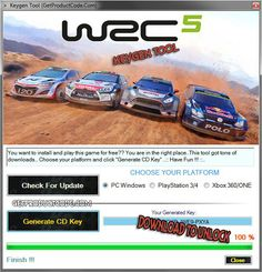 WRC 5 CD Key Generator WRC 5 Serial Key Generator PC Xbox One 360 PS3 PS4.Here is the only place where you can download WRC 5 Serial Key Number for free.