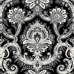 Anna Griffin - Willow Collection - 12 x 12 Flocked Paper - Black Damask at Scrapbook.com $1.59