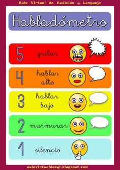 Habladómetro, medida de auto-regulación de la voz infantil   Hazme hablar Spanish Teacher, Spanish Classroom, Teaching Spanish, School Items, I School, First Day Of School, Spanish Lesson Plans, Spanish Lessons, Coping Skills
