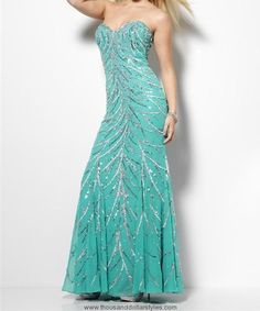 Designer Sequence Silk Evening or Prom Dresses Blue Dress - thousanddollarstyles.com