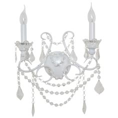 French Style White 2 Branch Cut Glass Chandelier Wall Light