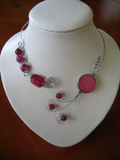 Fuchsia pink metal wire necklace - Fuchsia open necklace  | LesBijouxLibellule - Jewelry on ArtFire