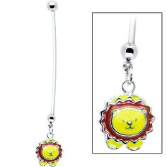 Yellow Lion Pregnant Belly Ring | Body Candy Body Jewelry #bodycandy