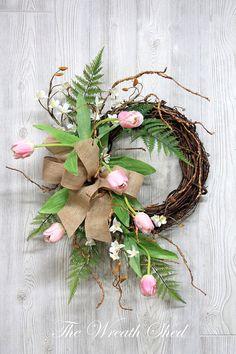 Spring Wreaths Wreath Spring Tulip Wreath Wreaths