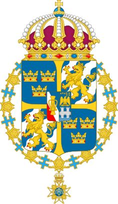 Archivo:Great coat of arms of Sweden. Swedish Army, Family Crest, Crests, Coat Of Arms, Sweden, Symbols, History, Flags, Morale Patch