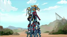 Voltron Lions- Blue Lion, Green Lion, Red Lion, Black Lion and Yellow Lion on top of each other as a pyramid to try to form Voltron from Voltron Legendary Defender