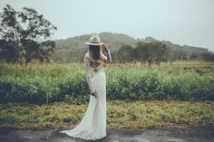 """""""Gwen"""" by Daughters of Simone   two-piece wedding dresses, white eyelash lace crop top and maxi skirt, nontraditional boho bride"""