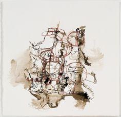 Elizabeth Terhune Selected Works on Paper Bister, red ink