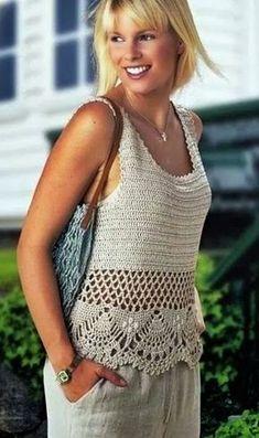 Beau Crochet, Crochet Lace, Crochet Tops, Crochet Cardigan Pattern, Crochet Blouse, Knitting Patterns Free, Crochet Patterns, Crochet Diagram, Ladies Tops Patterns