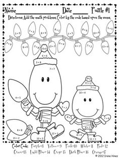 math worksheet : http  www teacherspayteachers  product free gingerbread skip  : Christmas Math Puzzle Worksheets