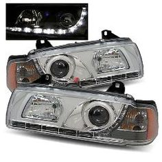 92-98 BMW E36 2 Door LED Projector Headlights - Chrome (R8 Style)