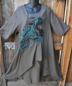 Art to Wear Lagenlook Embellished Asymmetric Dress Tunic by Peacock Ways OS | eBay