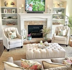 Neutral Living Room with Pops Of Color . Neutral Living Room with Pops Of Color . Beautiful Neutral Family Room with Pops Of Color and Wood Elegant Living Room, Cozy Living Rooms, Living Room Paint, Home Living Room, Living Room Designs, High Ceiling Living Room, Sitting Room Decor, Living Room Photos, Interior Design