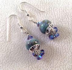 Glass Bead Earrings, Lampwork Glass Beads, Blue Earrings, Earrings with crystals by ASplashOGlass on Etsy