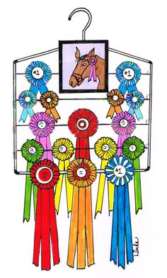 Want a stylish way to show your accomplishments? Create this clever, colorful DIY display hanging. LindaLu and Cheryl, too! show you how: Gather all your award ribbons, a framed picture showcasi… Award Ribbon Display, Horse Ribbon Display, Horse Show Ribbons, Award Display, Display Ideas, Horse Show Mom, Show Horses, Cowgirl Room, Ribbon Holders