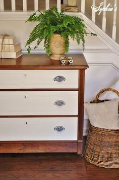 What a classic, pretty way to paint this dresser! Sophias: Two-toned Dresser and Kitchen Scale Dining Table