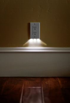 The LED lights are a neat idea, but the wide trim is great. SnapRays an LED nightlight built right into the outlet cover plate Led Shop, Led Stripes, Rgb Led, Outlet Covers, Home And Deco, My New Room, My Dream Home, Home Projects, Home Remodeling