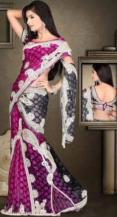 Purple and Black Heavy Work Banarasi Lehenga Saree 21812 Lehenga Style Saree, Banarasi Lehenga, Black Lehenga, Saree Blouse, Indian Dresses, Indian Outfits, Indian Clothes, Latest Designer Sarees, Asian Bride