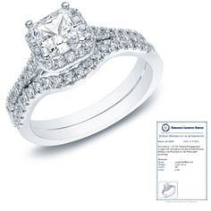 $659.99 - 1 Carat Princess Cut Diamond 14K White Gold Bridal Ring Set