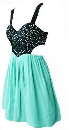 black cutout and mint dress