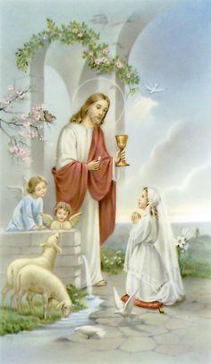 girl s first communion prayer card