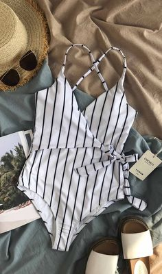 $27.99!Chicnico Sexy Striped One piece Swimwear #onepieceswimsuit